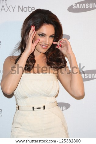 Kelly Brook arriving for the Samsung celebrate the launch of the Galaxy Note 10.1 held at One Mayfair London. 15/08/2012 Picture by: Henry Harris - stock photo