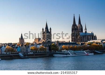 KELN, GERMANY - OCTOBER 26: View on Keln landmarks and embankment of Rein river on October 26, 2011 in Keln, Germany