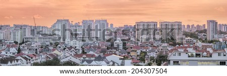 Kembangan Private and Public Residential Area in Singapore at Early Morning Dawn Panorama - stock photo