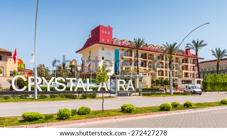 KEMER, TURKEY - APR 15, 2015: Crystal Laura hotel in Kemer, Turkey. Kemer is a popular touristic destination on the Mediterranean sea coast