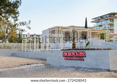 KEMER, TURKEY - APR 15, 2015: Touristic hotel Alkoclar in Kemer, Turkey. Kemer is a popular touristic destination on the Mediterranean sea coast