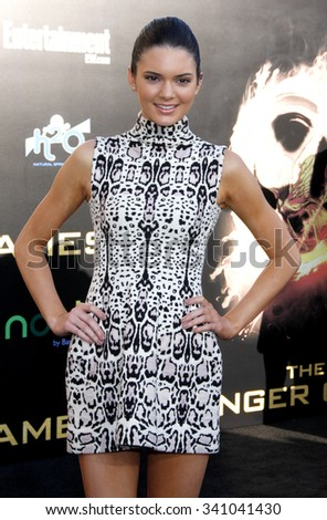 """Kendall Jenner at the Los Angeles Premiere of """"The Hunger Games"""" held at the Nokia Theatre L.A. Live, California, United States on March 12, 2012. - stock photo"""