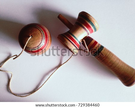 Kendama the colorful japanese toy made from wood and rope