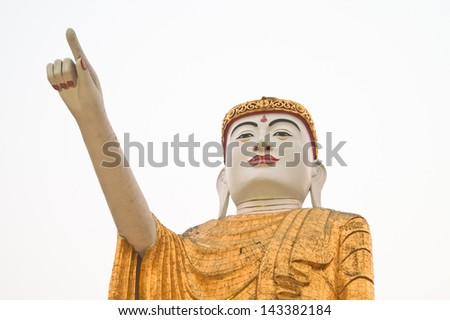 KENGTONG,MYANMAR-APRIL 1 :The pointing Buddha statue at Wat Jom sak temple on April 1,2007 in Kengtong(Kyaing tong) city , Shan state Myanmar.The pointing Buddha posture is very popular in Myanmar.