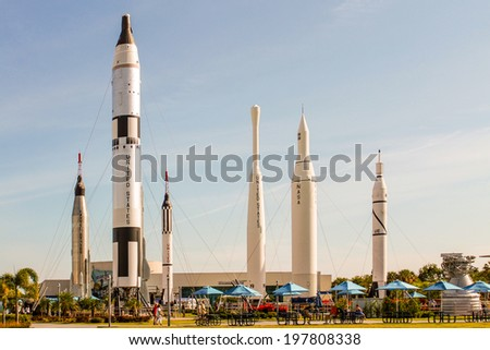 KENNEDY SPACE CENTER, CAPE CANAVERAL, FLORIDA, USA - May 3, 2013 - Rocket Garden at the Kennedy Space Center in Cape Canaveral, Florida - stock photo