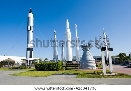 KENNEDY SPACE CENTER, FLORIDA, USA - APRIL 27, 2016: Several rockets are exhibited in rocket garden in the visitor complex of Kennedy Space Center near Cape Canaveral in Florida