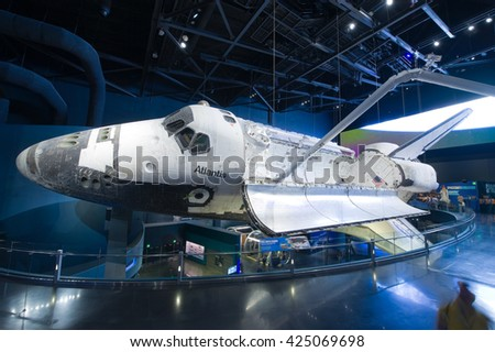 KENNEDY SPACE CENTER, FLORIDA, USA - APRIL 27, 2016: Space Shuttle Atlantis which is exhibited at the visitor complex of Kennedy Space Center - stock photo
