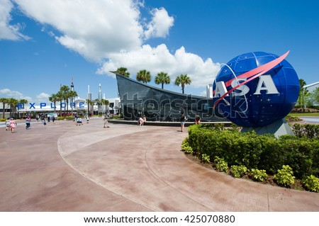 KENNEDY SPACE CENTER, FLORIDA, USA - APRIL 27, 2016: The entrance of the visitor complex of Kennedy Space Center near Cape Canaveral in Florida - stock photo