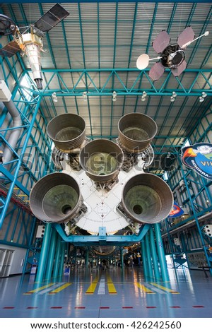 KENNEDY SPACE CENTER, FLORIDA, USA - APRIL 27, 2016: The Saturn 5 rocket which is exhibited at the visitor complex of Kennedy Space Center - stock photo