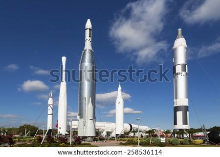 Kennedy Space Center Rocket Garden. 1st November 2014, Florida - stock photo