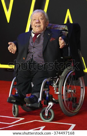 """Kenny Baker at the European premiere of """"Star Wars: The Force Awakens"""" in Leicester Square, London. December 16, 2015  London, UKPicture: James Smith / Featureflash - stock photo"""
