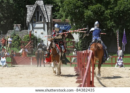 KENOSHA, WI - AUGUST 21: Actors as medieval knights jousting at the annual Bristol Renaissance Faire on August 21, 2011 in Kenosha, WI