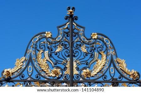Kensington Palace gate, detail - stock photo