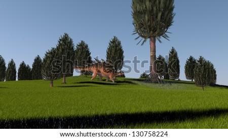 kentrosaurus in green grass field - stock photo