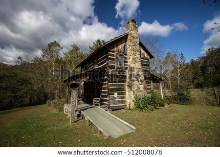 Kentucky Log Cabin. Historic log cabin on display at the Gladie Visitors Center in the Daniel Boone National Forest. This is a public owned building on public parklands and not a privately owned home.