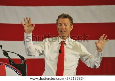 Kentucky Senator Rand Paul speaks in Nashua, New Hampshire, USA, April 18, 2015. - stock photo