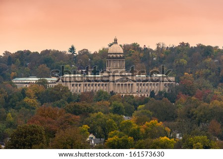 Kentucky State Capitol building viewed from the Frankfort Cemetery in Frankfort, Kentucky - stock photo