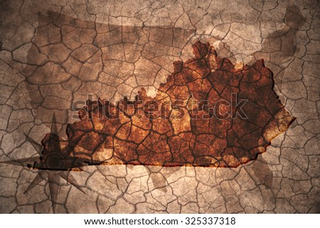 Kentucky state map on vintage usa map, crack paper background - stock photo