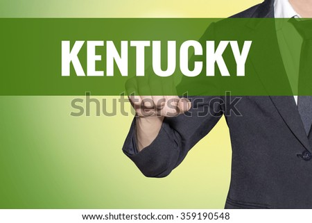 Kentucky word Business man touch on vintage yellow green tab virtual screen - stock photo