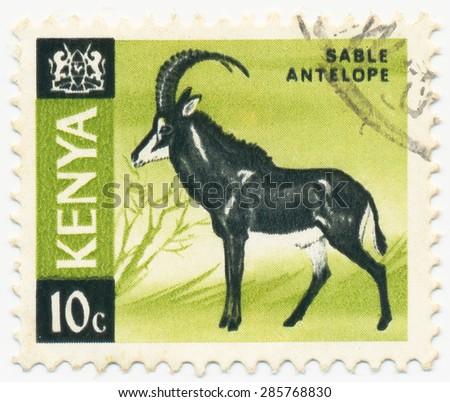 KENYA - CIRCA 1966: A stamp printed in Kenya shows Sable antelope, circa 1966 - stock photo