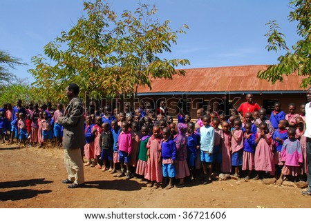 KENYA CIRCA JULY 2009. Children of the Masai tribe in school. The Masai tribe is the most peaceful ethnicity to suit Africa July 2009 in Kenya - stock photo