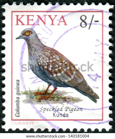 KENYA - CIRCA 1993: Postage stamp printed in Kenya shows the Speckled Pigeon (Columba guinea), circa 1993
