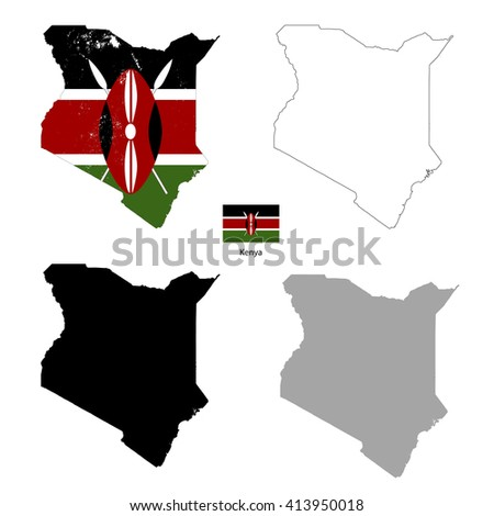 Kenya country black silhouette and with flag on background, isolated on white - stock photo
