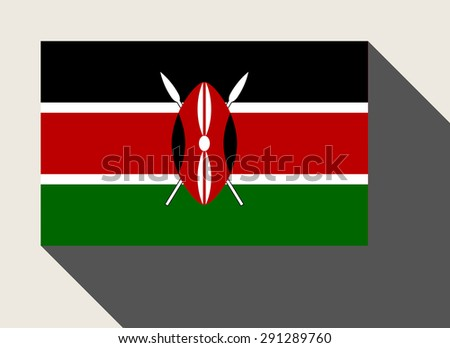 Kenya flag in flat web design style. - stock photo