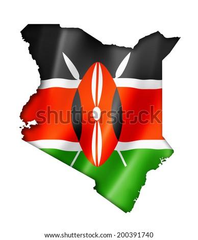 Kenya flag map, three dimensional render, isolated on white - stock photo