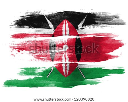 Kenya flag painted on white paper with watercolor - stock photo