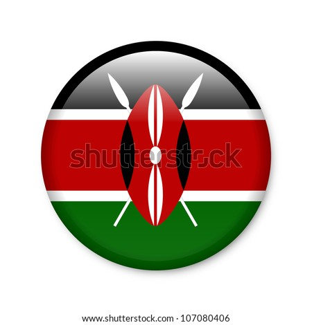 Kenya - glossy button with flag
