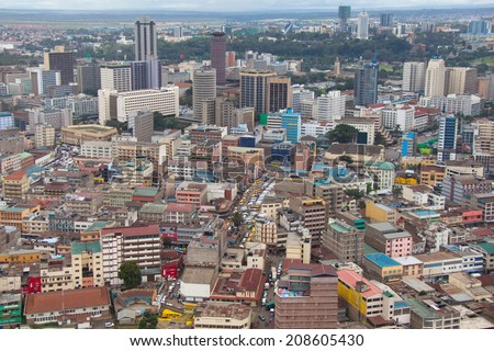 Kenya's gorgeous cityscape from the sky - stock photo