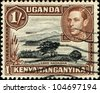 KENYA, UGANDA AND TANGANYIKA - CIRCA 1938: A stamp printed in Kenya, Uganda and Tanganyika shows Lake Naivasha, circa 1938 - stock photo