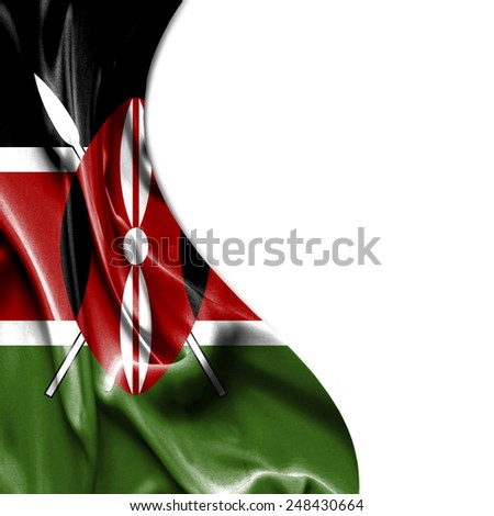 Kenya waving silky flag isolated on white background - stock photo
