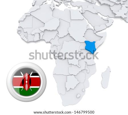 Kenya with national flag - stock photo