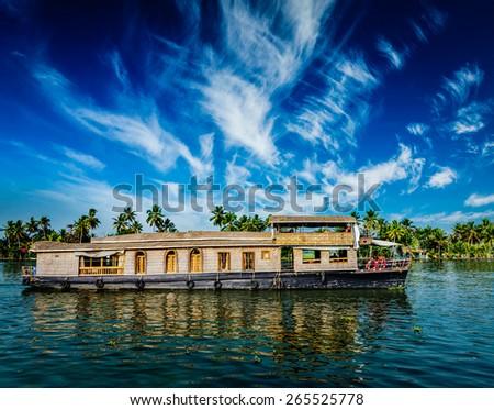 Kerala India  travel background - houseboat on Kerala backwaters. Kerala, India - stock photo