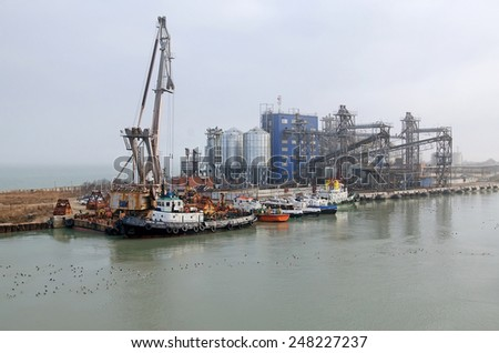 KERCH, CRIMEA, RUSSIA - JANUARY 16: Grain terminal in the port of Kavkaz on the Taman Peninsula on January 16, 2015 in Kerch, Crimea, Russia