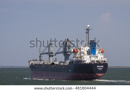 Kerch, Russia, August 7, 2016 - Turkish dry cargo ship Adaline sails through the Kerch Strait