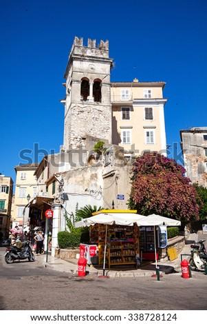 Kerkyra (Corfu), Corfu Island, Greece - June 25, 2012: Streets of the old town - stock photo