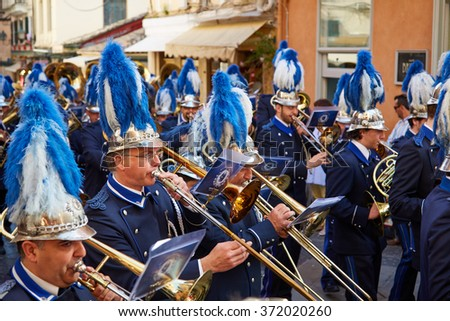 Kerkyra, Corfu - 05 may 2014: Musicians play in the orchestra and go in Procession at Easter.
