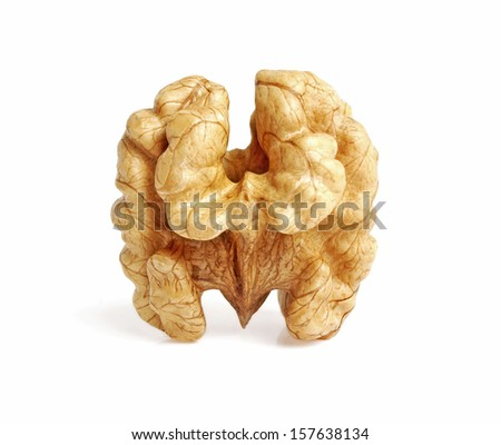Kernel walnut isolated on the white background closeup - stock photo