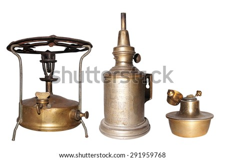 kerosene burner on white background - stock photo