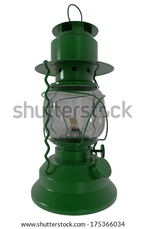 Kerosene lamp. isolated on white background. 3d
