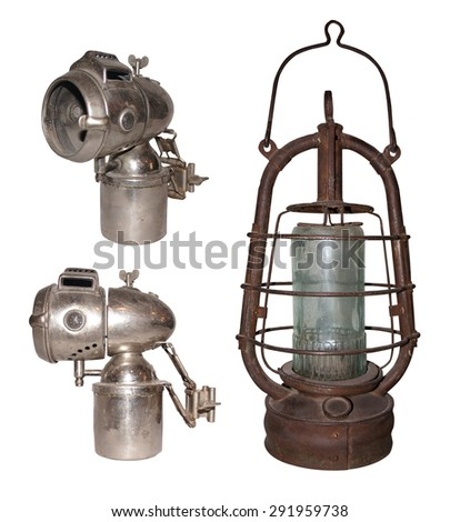 kerosene lamp on white background - stock photo
