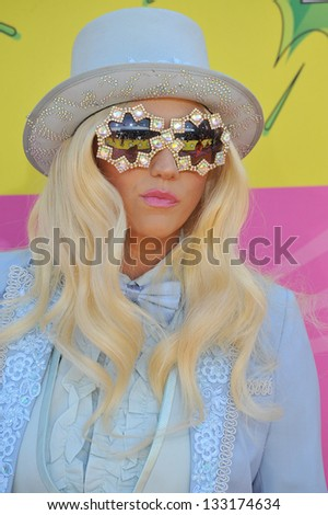 Kesha at Nickelodeon's 26th Annual Kids' Choice Awards at the Galen Centre, Los Angeles. March 23, 2013  Los Angeles, CA Picture: Paul Smith