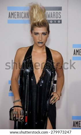 Kesha at the 2010 American Music Awards held at the Nokia Theatre L.A. Live in Los Angeles on November 21, 2010.