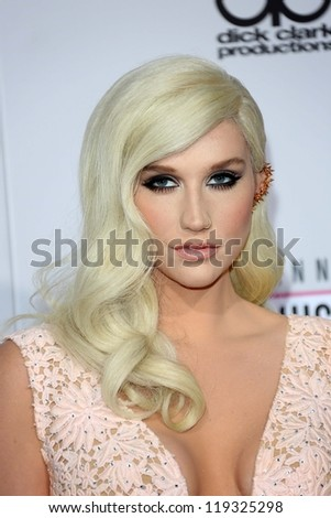 Kesha at the 40th American Music Awards Arrivals, Nokia Theatre, Los Angeles, CA 11-18-12 - stock photo