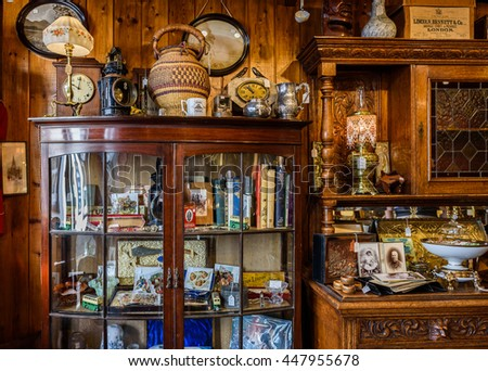 KESWICK, UK - MAY 31, 2016: Antiquities shop interior in Keswick, Cumbria. The vintage store sells various andtiques and vintage objects.