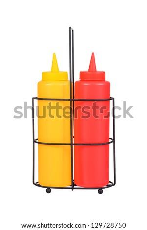 ketchup and mustard bottles - stock photo