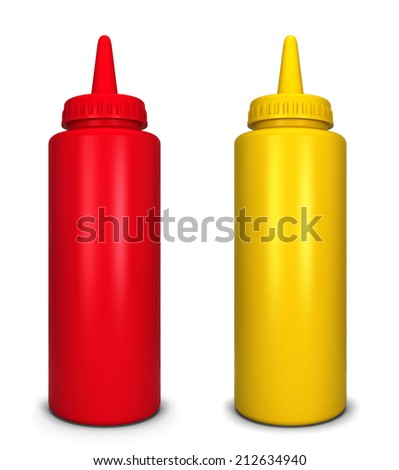 Ketchup and mustard bottles. 3d illustration isolated on white background